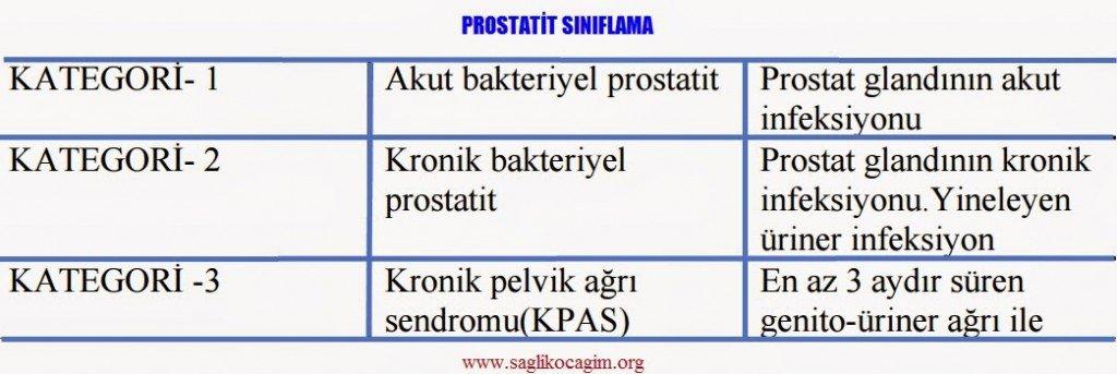 Prostat iltihabı sınıflama