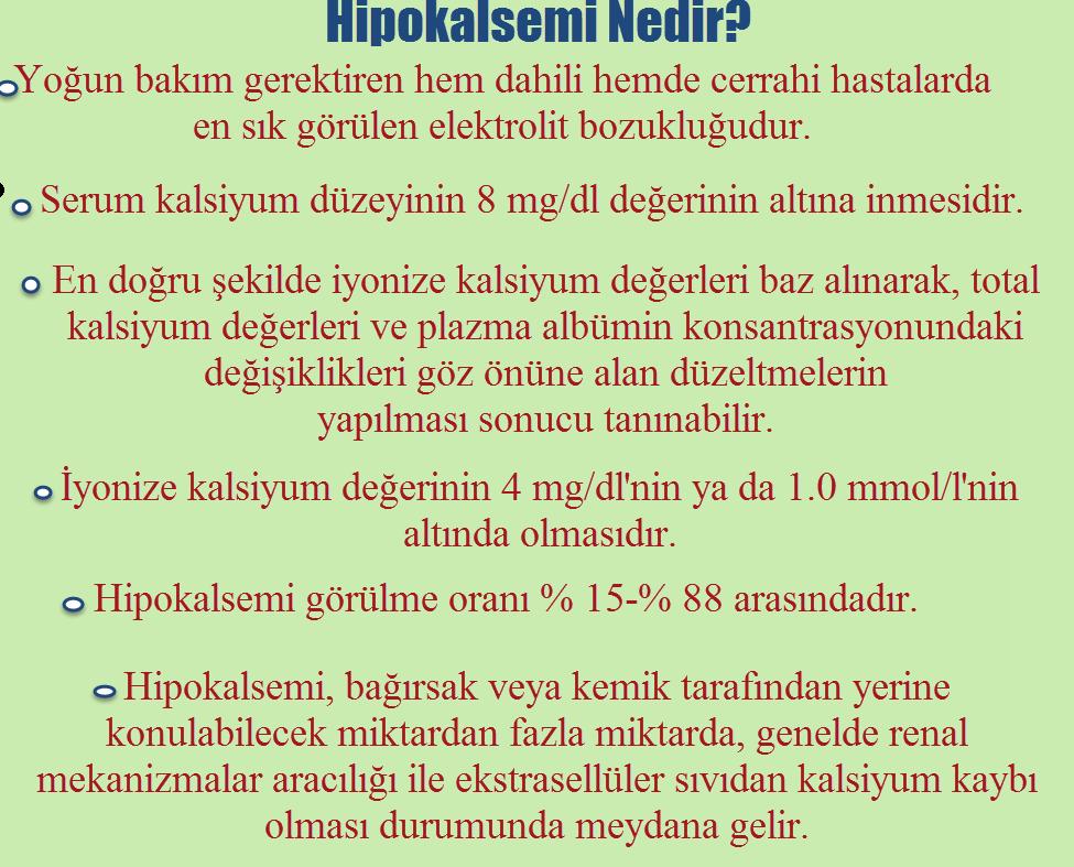 Hipokalsemi nedir